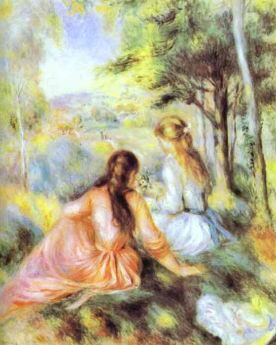 famous painting On the Meadow of Pierre-Auguste Renoir