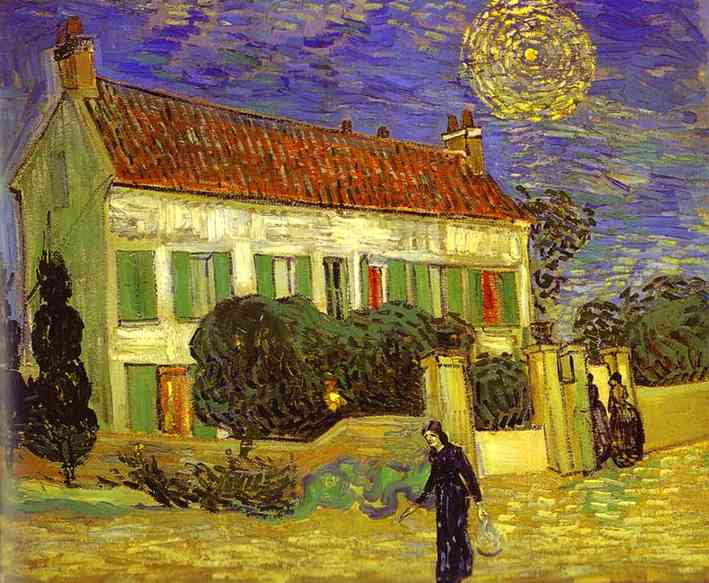 famous painting The White House at Night (La maison blanche au nuit) of Vincent Van Gogh
