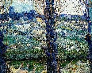 Vincent Van Gogh - View of Arles. Orchard in Bloom with Poplars in the Forefront