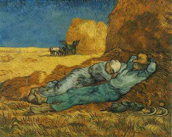famous painting Noon Rest from Work after Millet of Vincent Van Gogh