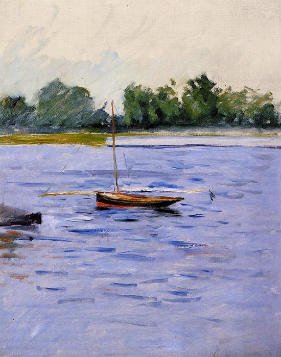famous painting Boat at Anchor on the Seine of Gustave Caillebotte