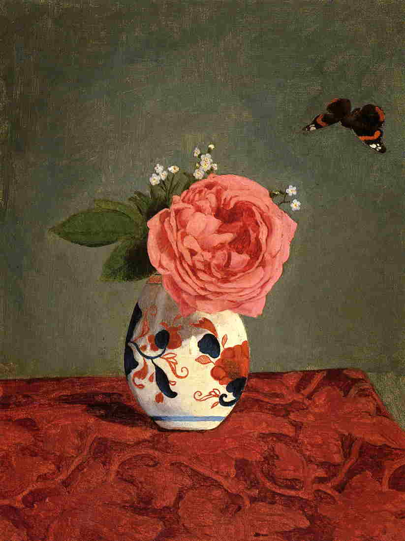 famous painting Garden Rose and Blue Forget Me Nots in a Vase of Gustave Caillebotte
