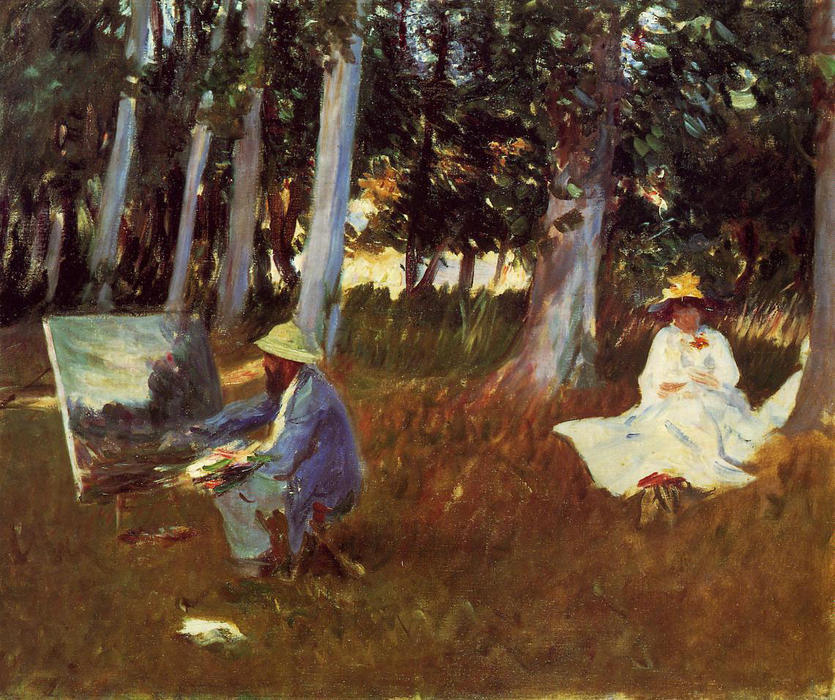 famous painting Claude Monet Painting by the Edge of a Wood of John Singer Sargent