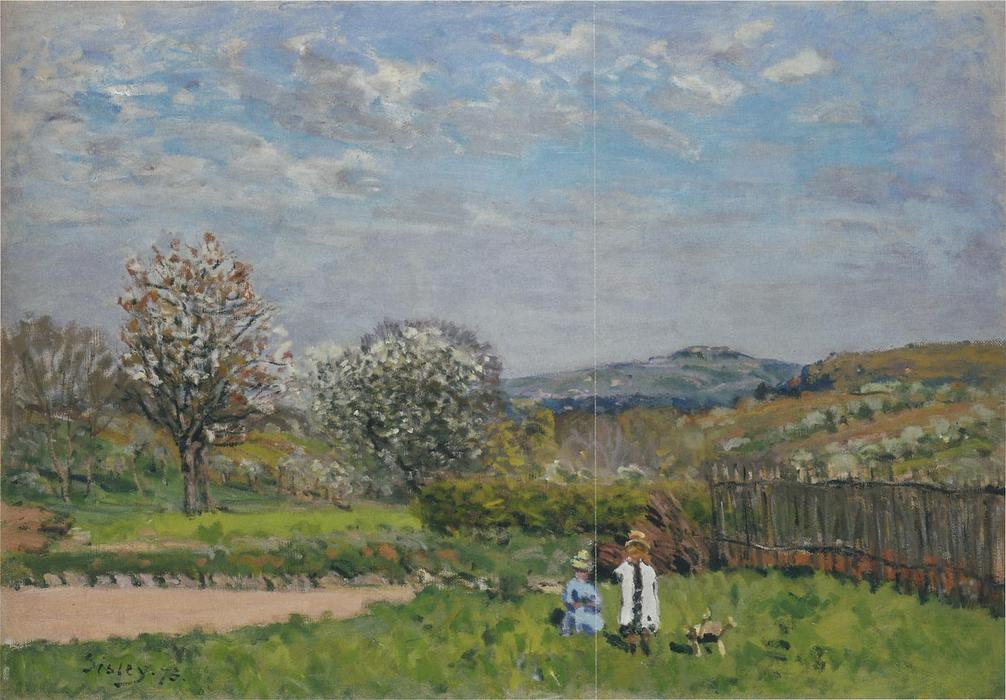 famous painting Children Playing in the Fields of Alfred Sisley