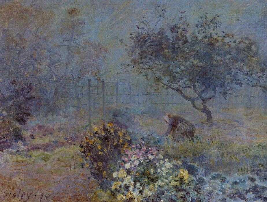 famous painting Foggy Morning, Voisins of Alfred Sisley