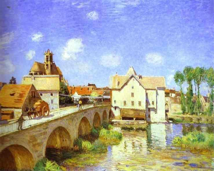famous painting The Bridge at Moret of Alfred Sisley