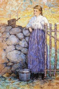 Julian Alden Weir - Girl Standing by a Gate