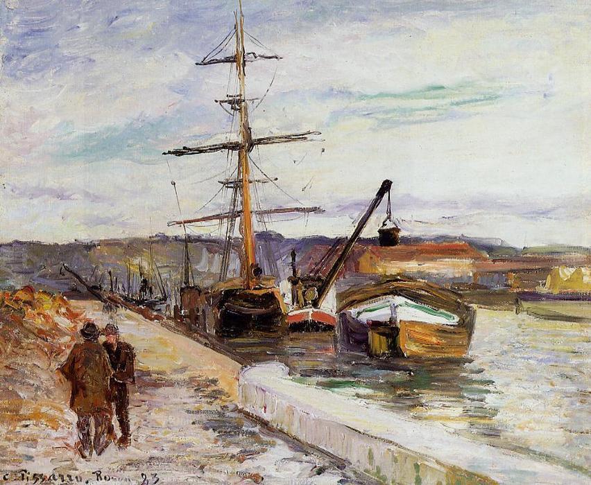 Il Porto di Rouen di Camille Pissarro | Riproduzioni D'arte Impressionista  | TopImpressionists.com