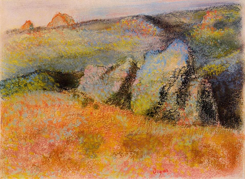 famous painting Landscape with Rocks of Edgar Degas