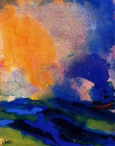 Emile Nolde - Blue-green Sea with Steamer