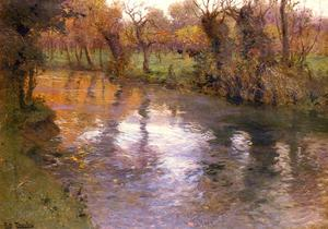 Frits Thaulow - An Orchard on the Banks of a River