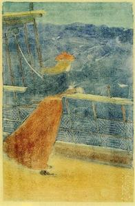 Maurice Brazil Prendergast - Woman on Ship Deck, Looking out to Sea (aka Girl at Ship's Rail)