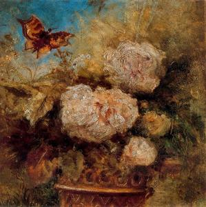 Ovidio Murguía De Castro - Vase of Flowers and Butterfly