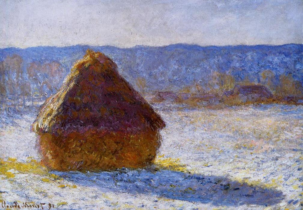 famous painting Grainstack in the Morning, Snow Effect of Claude Monet
