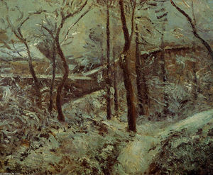 Camille Pissarro - Poor footpath, Pontoise, snow effect