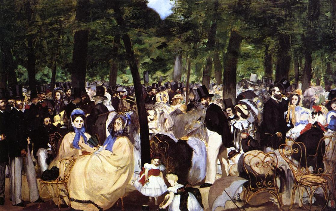 Buy Museum Art Reproductions Impressionism | Music in the Tuileries Garden by Edouard Manet | TopImpressionists.com