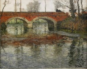 Frits Thaulow - French River Landscape with a Stone Bridge