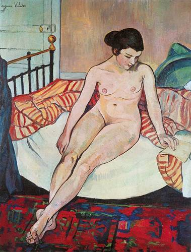 famous painting Nude with a Striped Blanket of Suzanne Valadon