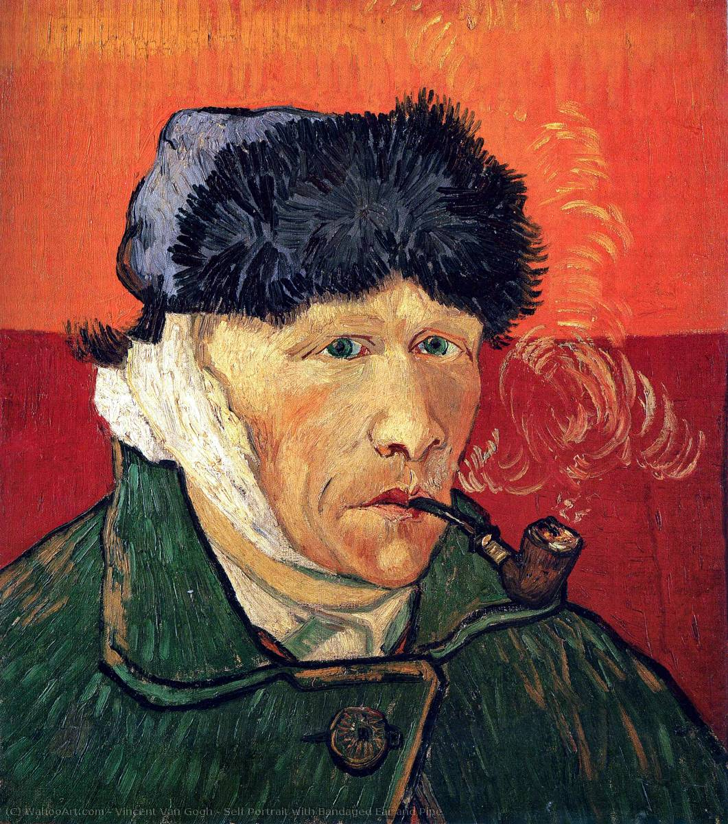 famous painting Self Portrait with Bandaged Ear and Pipe of Vincent Van Gogh