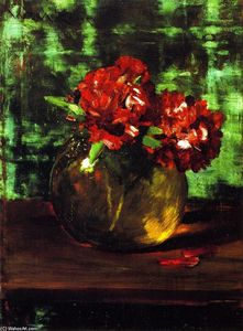 William Merritt Chase - Study of Flowers, Red against Green (also known as Still LIfe)
