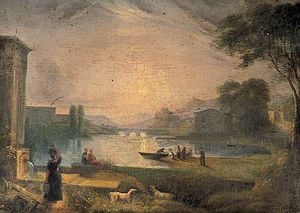 George Barret The Elder - River Scene With Buildings And Bridge