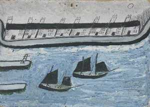 Alfred Wallis - Houses at the Water's Edge (Porthleven )