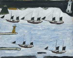 Alfred Wallis - Five Ships, Mount's Bay