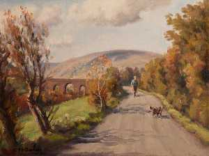 Charles J Mcauley - Country Road with a Man and Dog